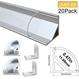 Lightingwill Clear LED Aluminum Channel V Shape Corner Mounted 6.6Ft/2M 20 Pack Sliver Extrusion for <12mm 5050 3528 LED Flex/Hard Strip Lights with Covers, End Caps, and Mounting Clips TP-V02S20