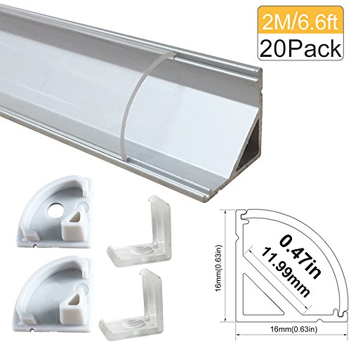 Lightingwill Clear LED Aluminum Channel V Shape Corner Mounted 6.6Ft/2M 20 Pack Sliver Extrusion for <12mm 5050 3528 LED Flex/Hard Strip Lights with Covers, End Caps, and Mounting Clips TP-V02S20 by LightingWill