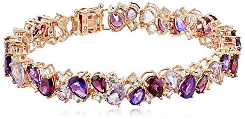 (14k Rose Gold Plated Sterling Silver Tonal Genuine Multi Gemstone Bracelet,)