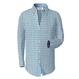 Boys Checkered Plaid Dress Shirt - Light Blue, 16