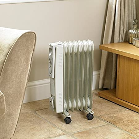 d57dce058c6 Garden mile® 1500w 7 Fin White Oil Filled Radiator Portable Energy  Effiicent Electric Heater Small
