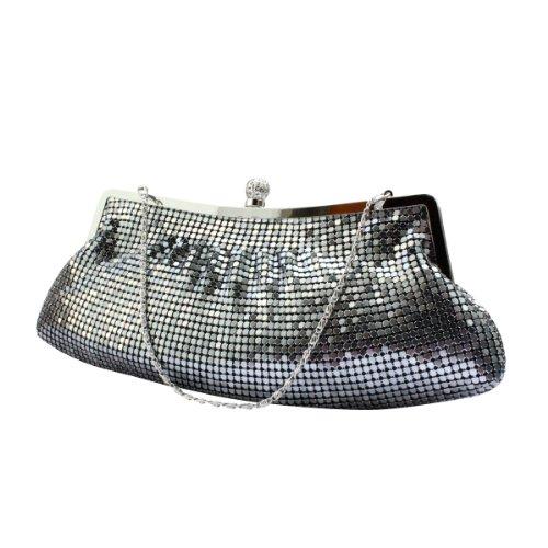 H:oter stylish & Simplism Abschlussball & Party Abend Handtasche mit Kristall, clutch bag, Geschenkideen - Farben verschiedenen, Preis / Stück Grau