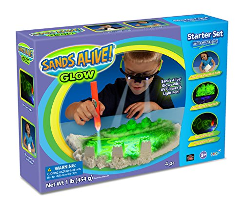 Glow Dough (Sand Molds Glow In The Dark Starter Set – 1 lb Glow Play Sand, UV Glasses, Pen Light and Sand Tray)
