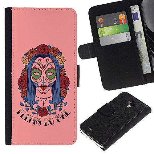 Be Good Phone Accessory // Caso del tirón Billetera de Cuero Titular de la tarjeta Carcasa Funda de Protección para Samsung Galaxy S4 Mini i9190 MINI VERSION! // Fleur Du Mal Woman Su