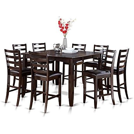 East West Furniture FAIR9 CAP LC 9 Piece Gathering Table Set