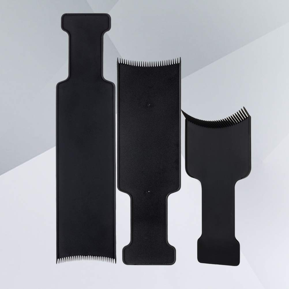Long Hair Highlighting Sectioning Board Barber Flat Top Paddle Board Comb for Hair Coloring Tint Tool 3pcs (Black)