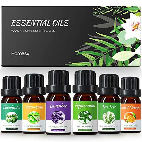 Homasy Essential Oils Set, Top 6x10mL Essential Oils Gift Set, Aromatherapy Essential Oil for Diffuser, Humidifier, Skin…