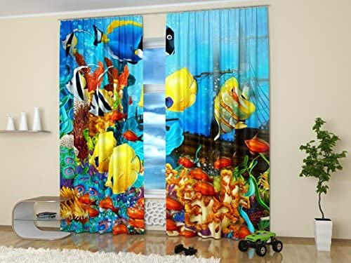 Factory4me Sea Life Window Curtains Finding Nemo. Window Curtain Set of 2 Panels Each W52 x L96 Total W104 x L96 inches Drape