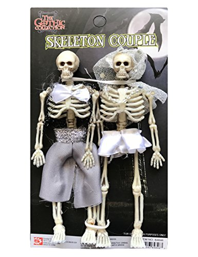 Halloween Plastic Skeleton Bride and Groom Couple Decoration, 6 Inches
