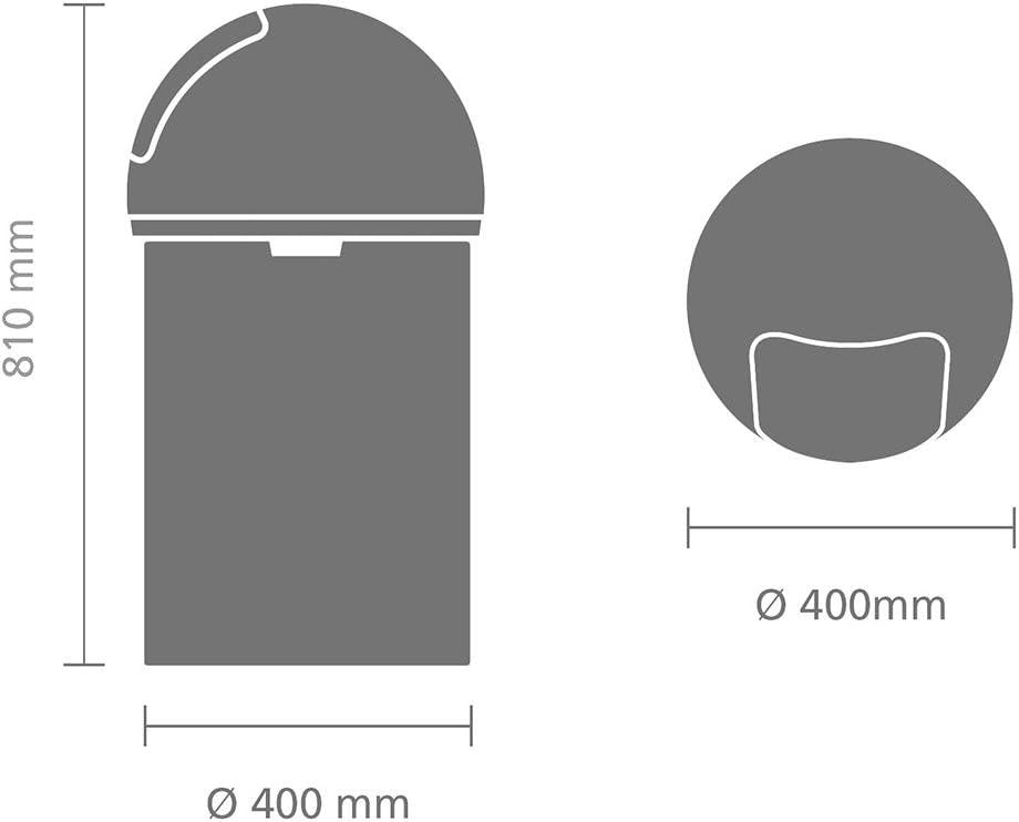 Brabantia Push Bin with Swing Lid, 60 Litre - Brilliant Steel