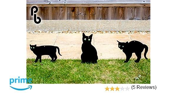 Set de 3 Siluetas de Gatos Ahuyentadores con Ojos en Relieve PestBye: Amazon.es: Jardín