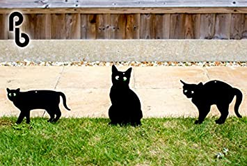 Set de 3 Siluetas de Gatos Ahuyentadores con Ojos en Relieve PestBye: Amazon.es: Jardín