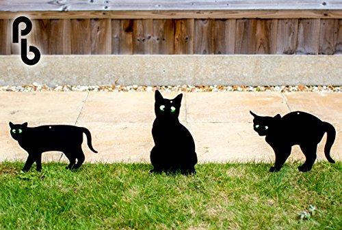 Pestbye Set de 3 Siluetas de Gatos Ahuyentadores con Ojos en Relieve, Black