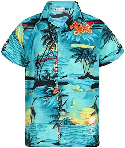 Virgin Crafts Hawaiian Shirt for Men's Short Sleeve Small Palm Print Casual Fashion Beach Shirt