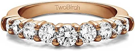 Sterling Silver Delicate Classic Curved Shadow Band with Cubic Zirconia (0.33 ct. tw.)