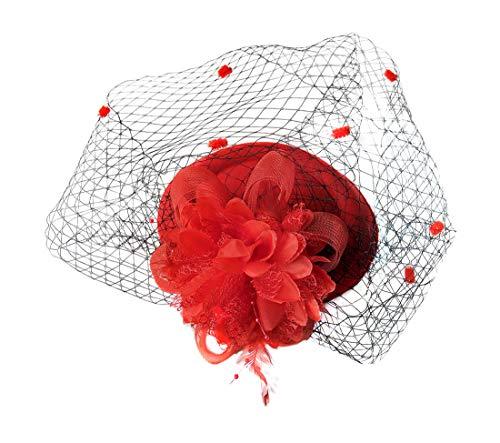 (Fascinator Hats Pillbox Hat British Bowler Hat Feather Flower Veil Wedding Hat ()