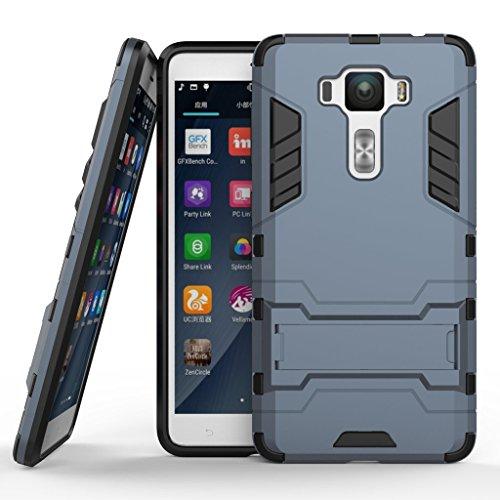 Zenfone 3 Deluxe 5.5 ZS550KL Hybrid Case DWaybox 2 in 1 Heavy Duty Armor Hard Back Cover Case with kickstand for ASUS Zenfone 3 Deluxe ZS550KL 5.5 Inch (Black Plus Gray)