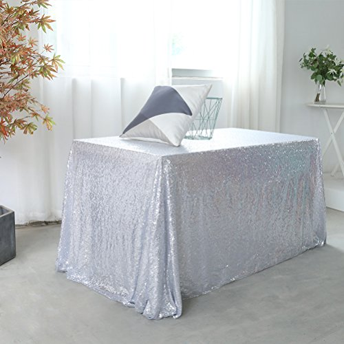 GFCC Sparkly Drape Tablecloth Silver Tablecloth Sequin Fabric Tablecloth for Ceremony/Party/Halloween 60
