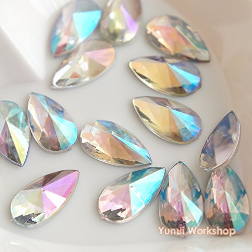 Teardrop Face - (Clear AB, 8mm x 13mm, 50pcs) Teardrop Shape Pointed Face Acrylic Flat Back Rhinestones Cabochons Deco Scrapbooking Nail Craft - Iridescent