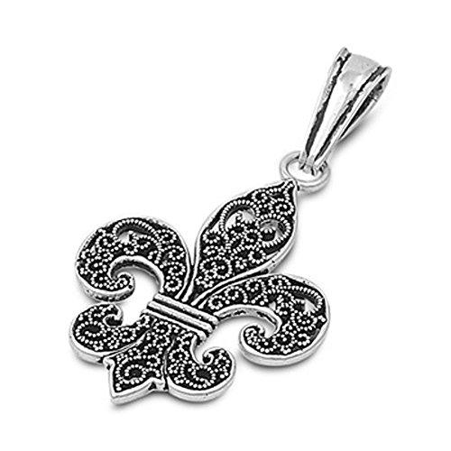 Fleur De Lis Pendant .925 Sterling Silver Charm - Silver Jewelry Accessories Key Chain Bracelet Necklace ()