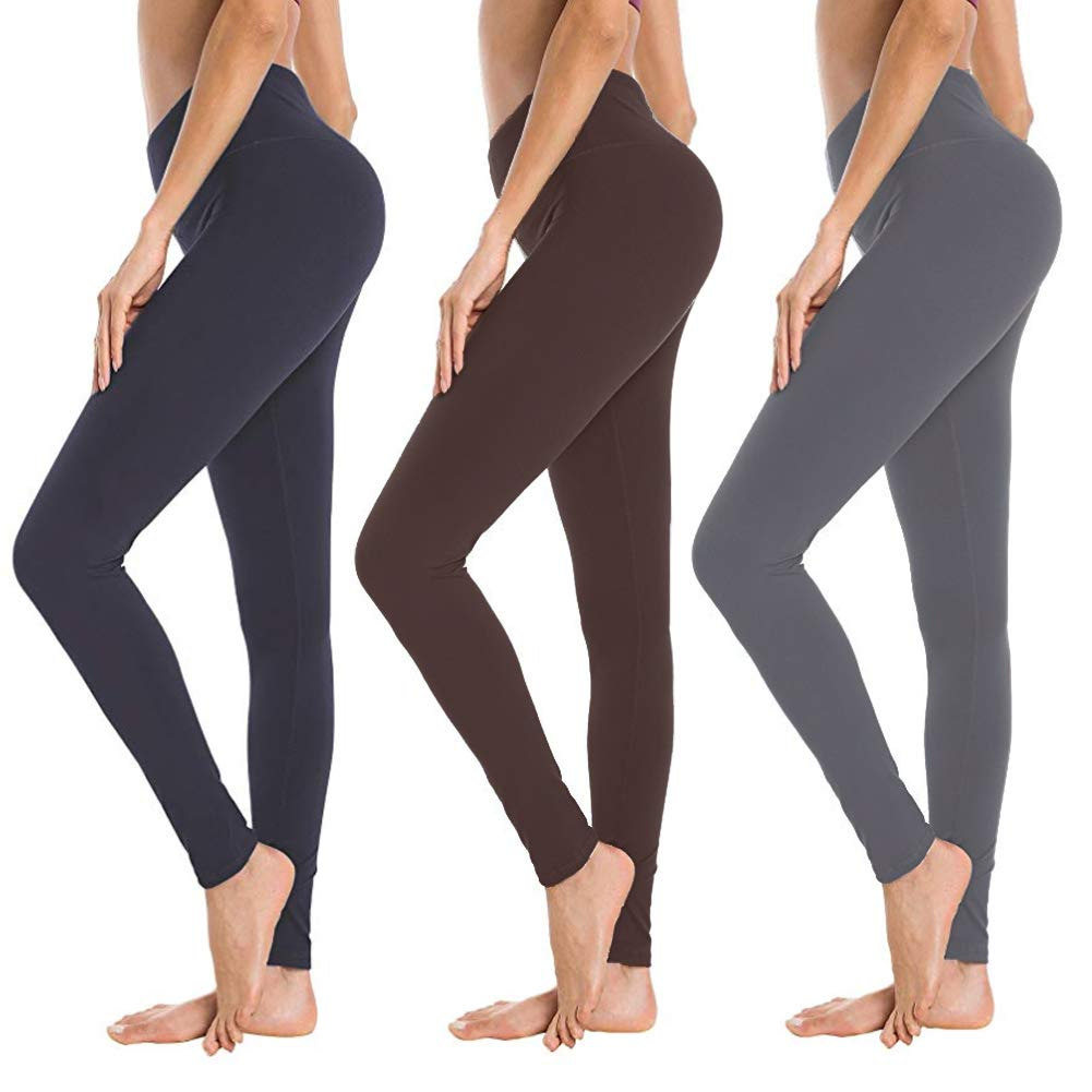 High Waisted Leggings for Women - Soft Athletic Workout Pants - Reg & Plus Size (Navy, Dark Grey, Tan, One Size (US 2-12)) by SYRINX