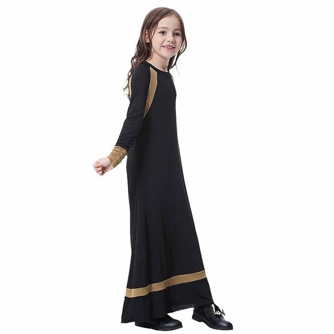 8e76784330e Muslim Islamic Girl s Long Sleeve Dress Jilbabs Full Length Abaya Burka  Arab Prayer Maxi Robe Gown Caftan Jalabiyas O-Neck Arabic Liturgical Praise  Dresses ...