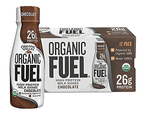 Organic Valley, Organic Fuel, Organic Milk Protein Shake, Chocolate, 11 Ounces (Pack of 12) (Can Protein Shake)