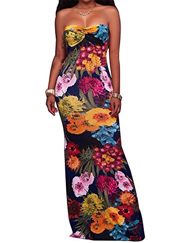 97198404293f CutieLove Women s Summer Casual Sexy Floral Print Bandeau Strapless Open  Back Beach Party Long Maxi Dress