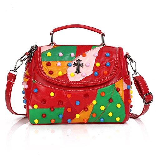 Red Rivet Sheepskip Handbag Genuine Leather Bag Woman Luxury Handbags Women Bags Designer Brand Famous Shoulder Bag
