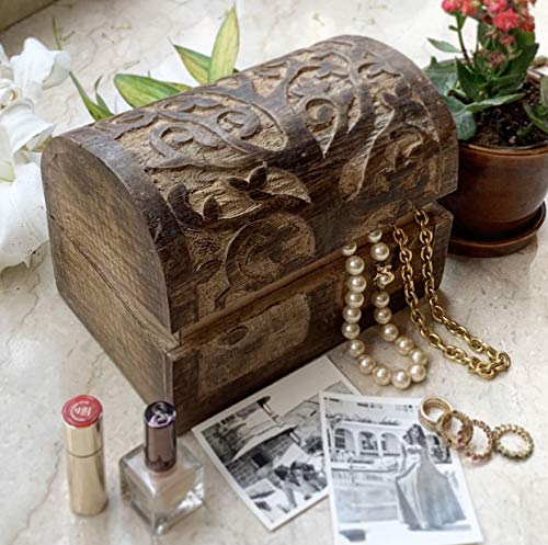 Birthday Gift Ideas Handmade Decorative Wooden Jewelry Box With Tree Of Life Carvings Jewelry Organizer Keepsake Box Treasure Chest Trinket Holder Memory Box Watch Box 9 x 6 Inch Anniversary Gifts