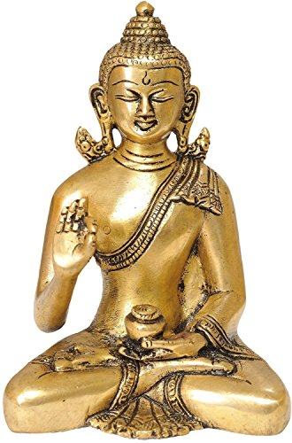 AapnoCraft Thai Blessing Buddha Statue Brass Meditating Buddha Figurine/Sculpture Golden Colour Home & Table Decor by AapnoCraft