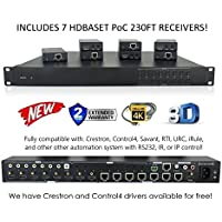 8x8 HDbaseT 4K MATRIX SWITCHER with 7 PoC Receivers (CAT5e or CAT6) HDMI HDCP2.2 HDTV ROUTING SPDIF AUDIO CRESTRON CONTROL4 SAVANT HOME AUTOMATION (8x8 HDbaseT Matrix with 1 HDMI output)