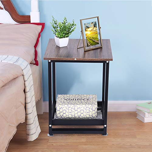 Eoeth 2-Tier Vintage Storage Nightstand Living Room Sofa Table Coffee Table Bedroom Multifunction Bedside Table Telephone Table Computer Table Small Desk Creative Furniture Table(Shipped by US)