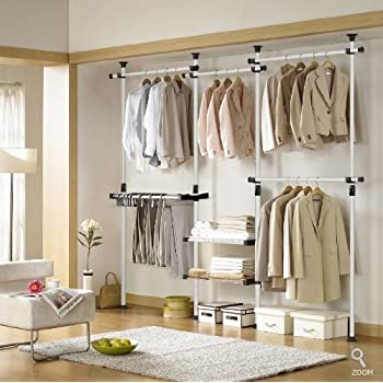 Amazon Com Deluxe Pants Amp Shelf Hanger Clothing Rack Closet Organizer Home Amp Kitchen