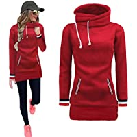 Kintaz Womens High Neck Collar Fleece Pullover Long Loose Fit Tunic Hoodies Sweatshirts Dress Sweater Coat with Pockets (4 Colors, Plus size available) (Red, XL(US Women Size))