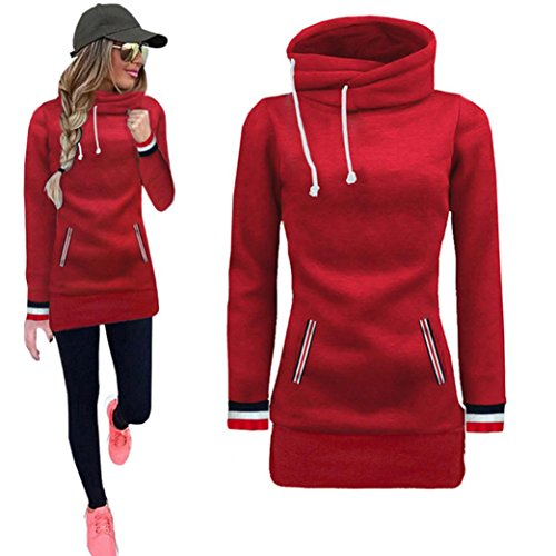 Kintaz Women's High Neck Collar Fleece Pullover Long Loose Fit Tunic Hoodies Sweatshirts Dress Sweater Coat with Pockets (4 Colors, Plus Size Available) (Red, M(US Women Size))