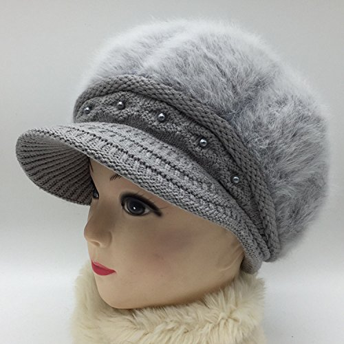 NEWC Autumn and Winter Fashion Lady All-Match Plus Velvet Warm Wool Cap,Gray