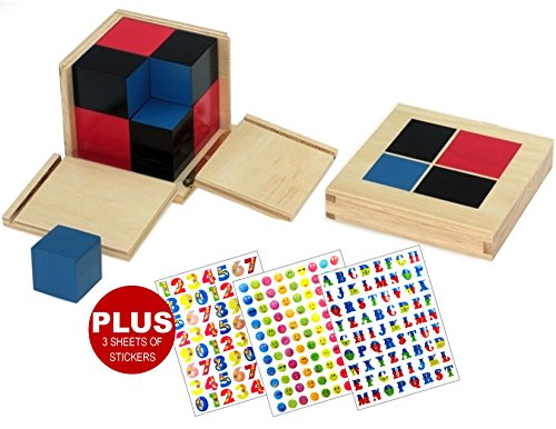 INTELLITOYZ Montessori wooden Binomial Cube for maths PLUS 3 sheets