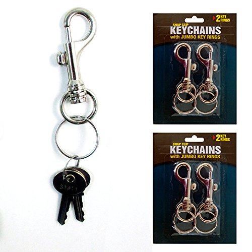 (Lot of 4 Jumbo Snap Clip Keychains Rings Swivel Trigger Round Eye Lobster Clasp)