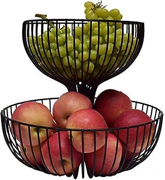 Inicio Moda Simplicidad Cocina Canasta de Frutas Gran Capacidad Sala Frutero Hierro Forjado Negro (Φ38Cm / Φ30Cm), C-F, Grande