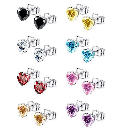 Udalyn 8 Pairs Cubic Zirconia Earrings for Girls Women Stainless Steel Heart Stud Earrings Jewelry 3-8 mm ()