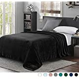 "Luxury Queen Size Flannel Velvet Plush Solid Bed Blanket (90"" x 90"", Black) - Soft, Lightweight, Warm and Cozy by Exclusivo Mezcla"
