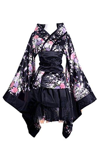 Women Japanese Lolita Kimono Cosplay Sakura Printed Anime Costume(L,black) (Female Cosplay)