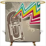 Antique Fishing Lure Shower Curtain Qinyan-Home Shower Curtain Sets Antique Vintage Retro Radio Party with Colorful Zig Zag Design Image for Light Grey and White. Clear Non Toxic,No Chemical Odor, Rust Proof Grommets.W66 x H72 Inch