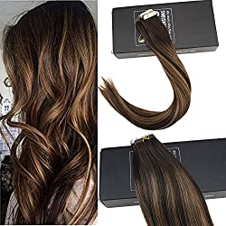 Sunny 18inch Tape Hair Extensions Human Hair #2 Darkest Brown Fading to #6 Brown Highlights Balayage Tape in Extensions Remy Human Hair 20pcs/50g