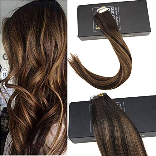 Sunny 16inch Tape in Human Hair Extensions 20pcs 50g Two Tone Color Darkest Brown Highlight with Medium Brown Colorful Balayage Seamless Tape Hair (Two Tone Tape)