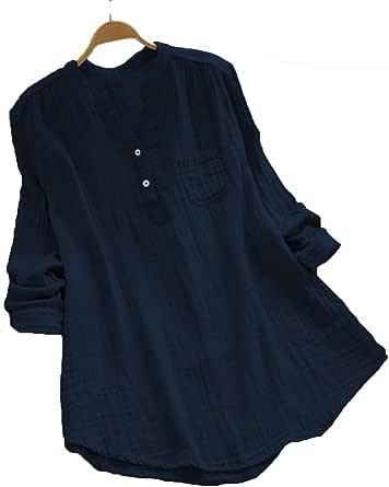 بلوزة كحلي قبة قميص -نساء