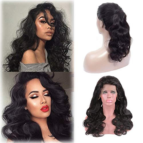 Brazilian Body Wave Lace Front Wig Human Hair Body Wig Black Bleached Knots With Baby Hair Bangs Lace Front Wig Pre Plucked Unprocessed Virgin Human Hair Wig 150 Density Wholesale 1b(10 Inch)