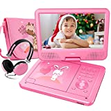 "Electronics : FUNAVO 10.5"" Portable DVD Player with Headphone, Carring Case, Swivel Screen, 5 Hours Rechargeable Battery, SD Card Slot and USB Port  (Pink)"