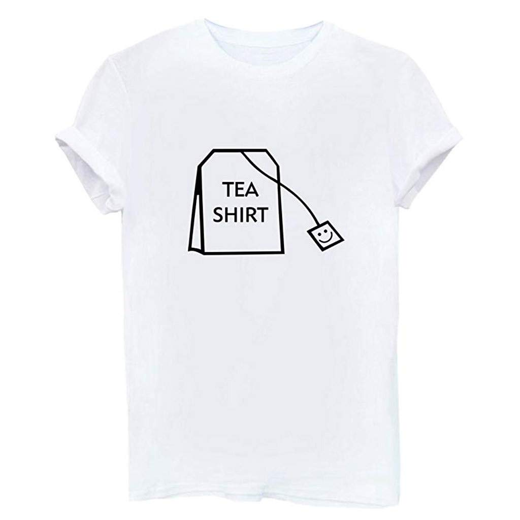 Women Summer Casual T-Shirt,Girl Funny Short Sleeve Cotton Shirts Cute Graphic Tee Top Blouse White